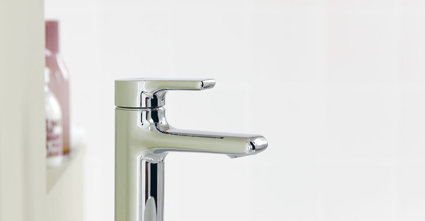 Vessel basin mixer waterfall outlet no waste