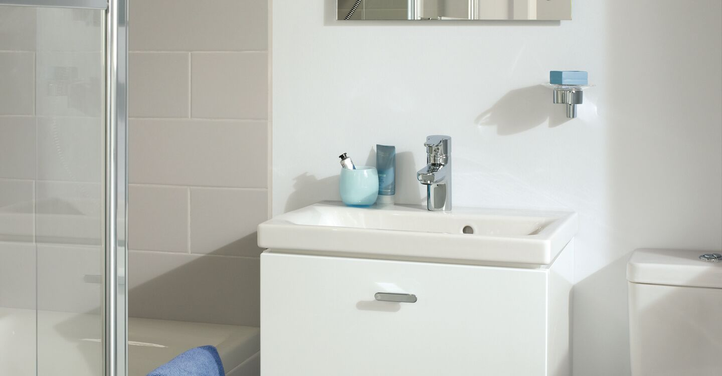 60cm rh wall hung basin unit, basin and tap