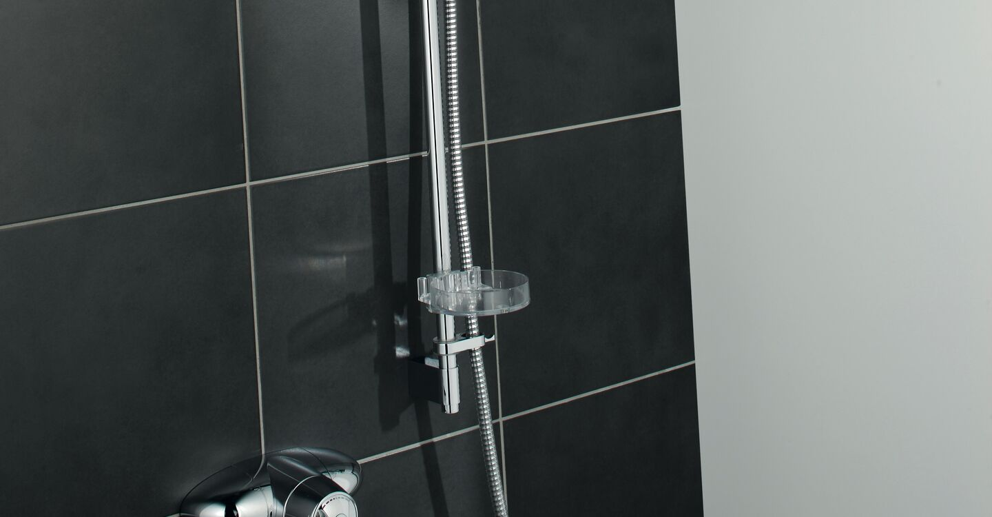 Exposed thermostatic shower pack, extended lever