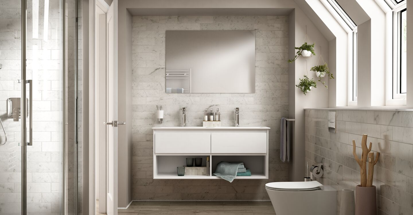 120cm wall hung unit, 60cm basin and tap