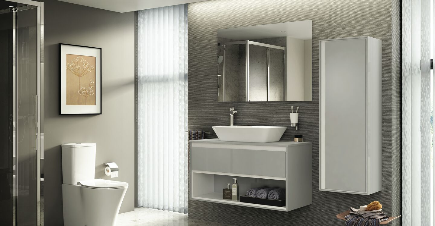 100cm wall hung vanity unit, basin and tap