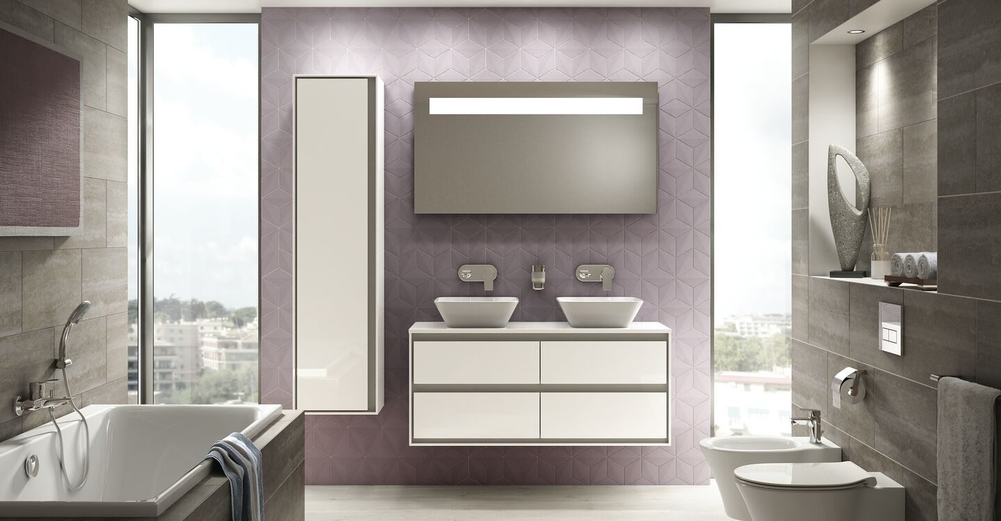 120cm wall hung unit, 40cm basin and tap